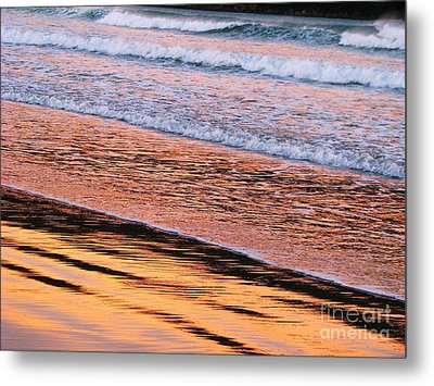 Sunset In Sand And Waves Metal Print by Michele Penner