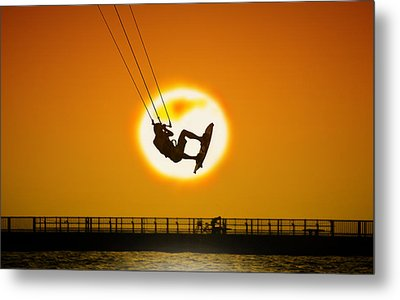 Sunset Kite Boarder Metal Print by Moments In 3 X 4