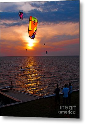 Sunset Kiteboarding On The Pamlico Sound Metal Print by Anne Kitzman