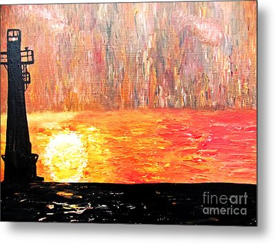 Metal Print featuring the painting Sunset Lighthouse by Ayasha Loya