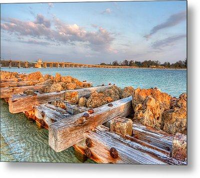 Sunset Longboat Pass Bridge  Metal Print by Jenny Ellen Photography