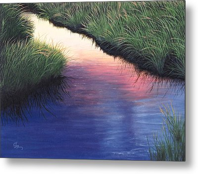 Metal Print featuring the painting Sunset Marsh Series by Cindy Lee Longhini
