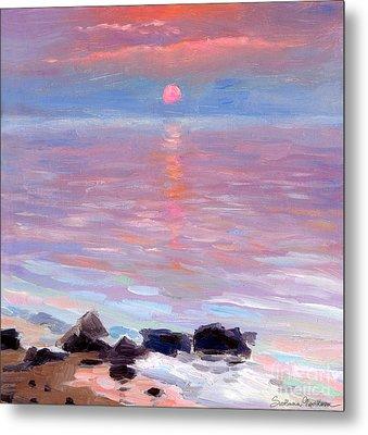 Sunset Ocean Seascape Oil Painting Metal Print