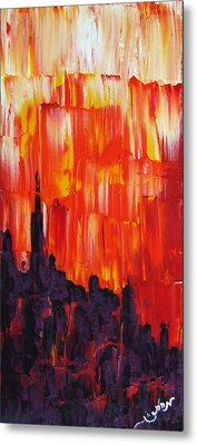 Sunset Of Melting Waterfall Behind Chicago Skyline Or Storm Reflecting Architecture And Buildings Metal Print by M Zimmerman MendyZ