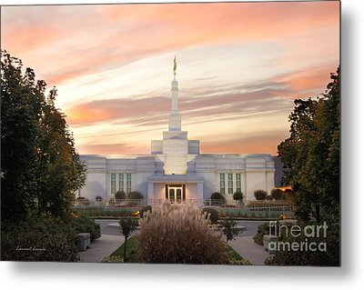 Sunset On Lds Montreal Temple Metal Print