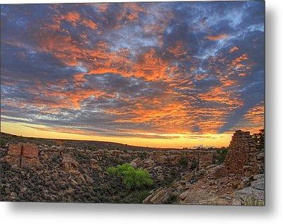 Sunset On Puebloan Ruins In Hovenweep Metal Print by Matt Champlin
