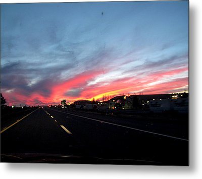 Sunset On Route 66 Metal Print by Kathy Corday