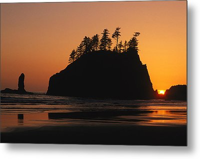 Sunset On Second Beach Metal Print by Phil Schermeister