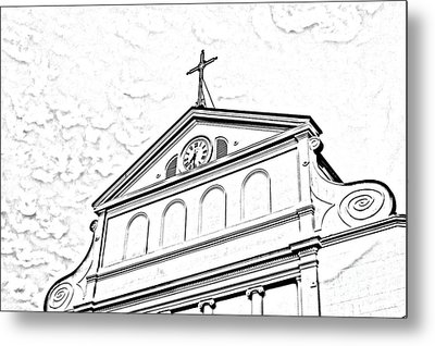 Sunset On St Louis Cathedral In Jackson Square French Quarter New Orleans Photocopy Digital Art Metal Print by Shawn O'Brien