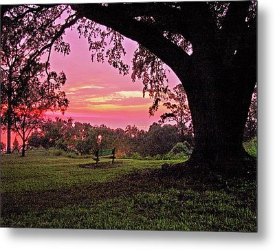 Sunset On The Bench Metal Print by Michael Thomas