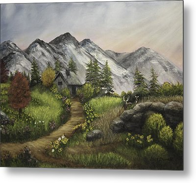 Sunset On The Mountain Cabin Metal Print by Gail Darnell