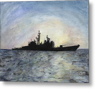 Sunset On The Uss Anzio Metal Print by Sarah Howland-Ludwig