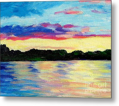 Sunset On Thornapple River Metal Print by Lisa Dionne
