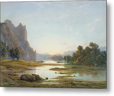 Sunset Over A River Landscape Metal Print by Francis Danby