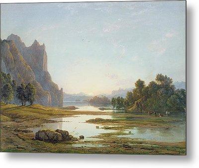 Sunset Over A River Landscape Metal Print