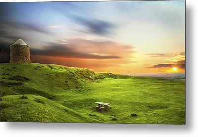 Sunset Over Burton Dassett Metal Print by Verity E. Milligan