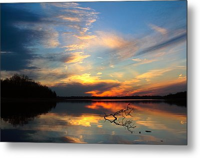 Sunset Over Calm Lake Metal Print