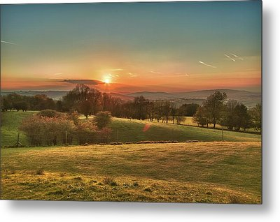Sunset Over Countryside Metal Print by Verity E. Milligan