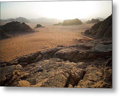 Sunset Over Jordan Wadi Rum Rock Metal Print by Jason Jones Travel Photography