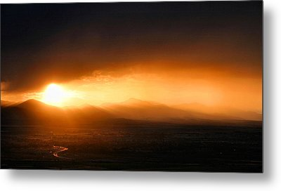 Sunset Over Salt Lake City Metal Print by Kristin Elmquist