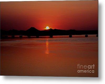 Sunset Over The Big Dam Bridge Metal Print by Joe Finney