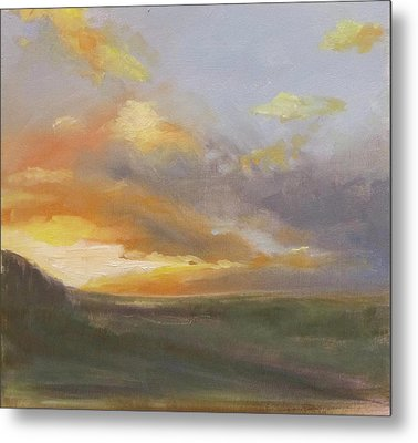 Sunset Over The Valley Metal Print by Podi Lawrence