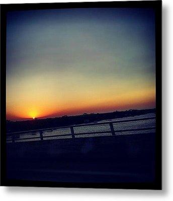 #sunset #rainbow #cool #bridge #driving Metal Print