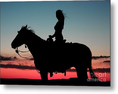 Sunset Ride Metal Print by Val Armstrong