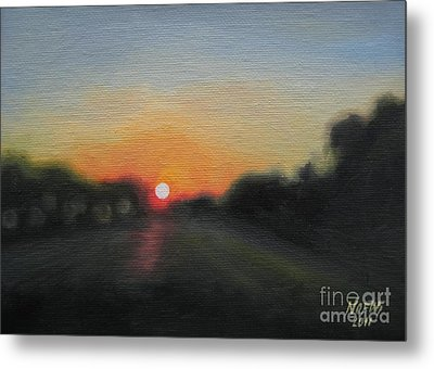 Sunset Road Metal Print by Jindra Noewi