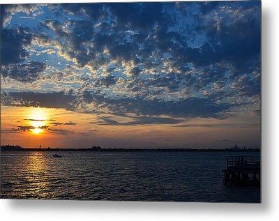 Metal Print featuring the photograph Sunset Rockaway Point Pier by Maureen E Ritter