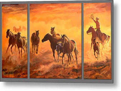 Sunset Run Triptych Metal Print by Jana Goode