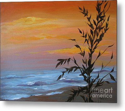 Metal Print featuring the painting Sunset Sea Oats by Gretchen Allen