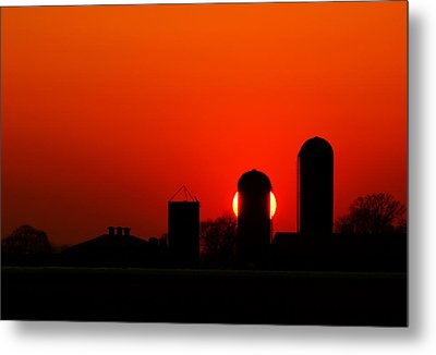 Sunset Silo Metal Print by Cale Best