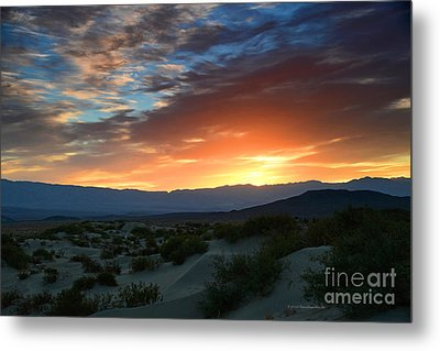 Sunset Sky Sand Dunes Death Valley National Park Metal Print
