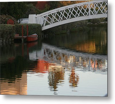 Sunset Stroll In The Canals Metal Print by Rebecca Baker