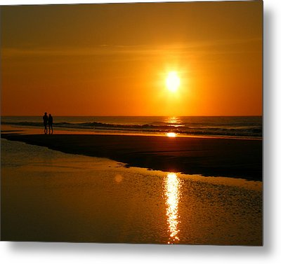Metal Print featuring the photograph Sunset Stroll by Mark J Seefeldt