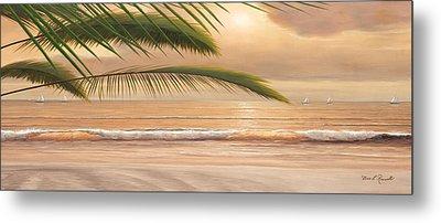 Sunset Surf Panoramic Metal Print by Diane Romanello