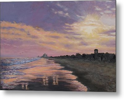 Sunset Surf Reflections Metal Print by Kathleen McDermott