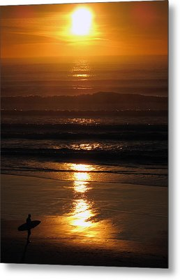 Metal Print featuring the photograph Sunset Surfer by Luis Esteves