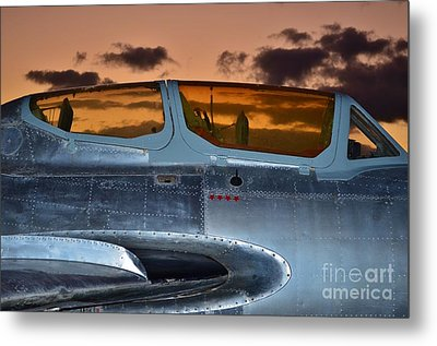 Sunset Through The Cockpit Metal Print