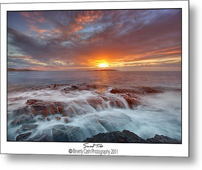Sunset Tides - Cemlyn Metal Print by Beverly Cash