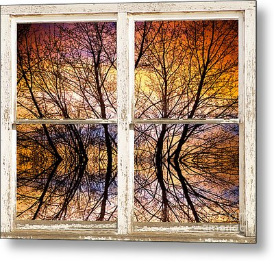 Sunset Tree Silhouette Colorful Abstract Picture Window View Metal Print by James BO  Insogna