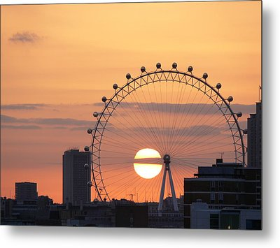 Sunset Viewed Through The London Eye Metal Print by Photograph by Lars Plougmann