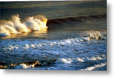 Metal Print featuring the photograph Sunset Wave Rockaway Beach Nyc by Maureen E Ritter