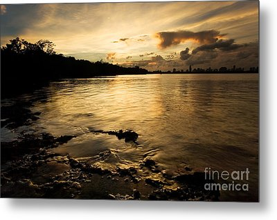 Sunset With Miami In The Distance Metal Print by Matt Tilghman
