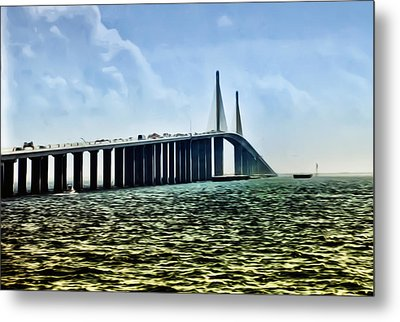 Sunshine Skyway Bridge - Tampa Bay Metal Print by Bill Cannon