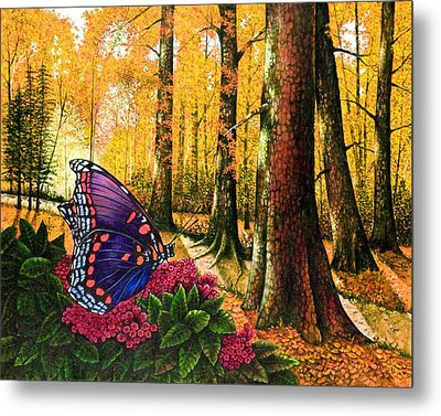 Sunshine Traveler-red Spotted Purple Metal Print by Michael Frank