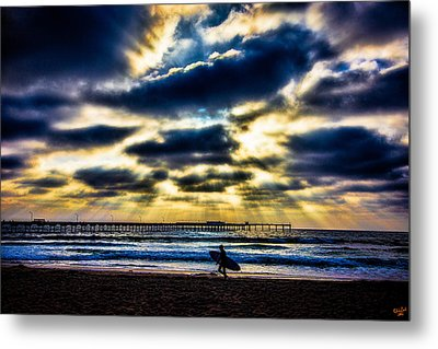 Surfer At Pacific Beach Metal Print by Chris Lord