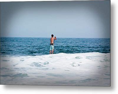 Metal Print featuring the photograph Surfer Waiting For Next Wave by Ann Murphy