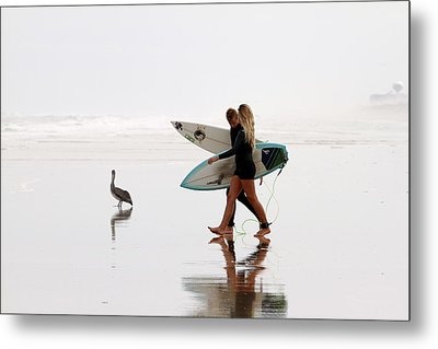 Metal Print featuring the photograph Surfers And A Pelican by Alice Gipson